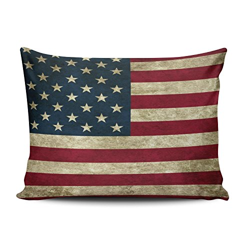 (SALLEING Custom Fancy Plush American Flag Pride Decorative Pillowcase Pillowslip Throw Pillow Case Cover Zippered One Side Printed 12x16 Inches)