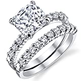 Fabulous Cushion Cut Cubic Zirconia Sterling Silver 925 Wedding Engagement Ring Band Set 9