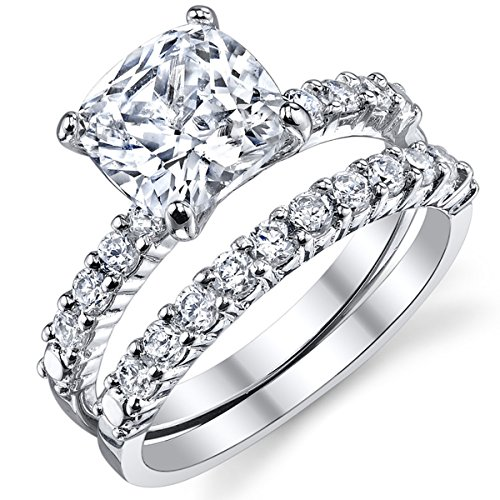 Fabulous Cushion Cut Cubic Zirconia Sterling Silver 925 Wedding Engagement Ring Band Set 8