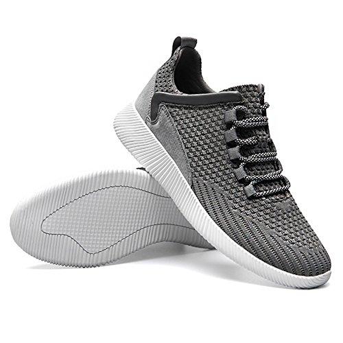 Jamron Hombres Respirable Neta Gimnasio Deporte Zapatos Ligero Cordón Aptitud Zapatos de Deporte Gris