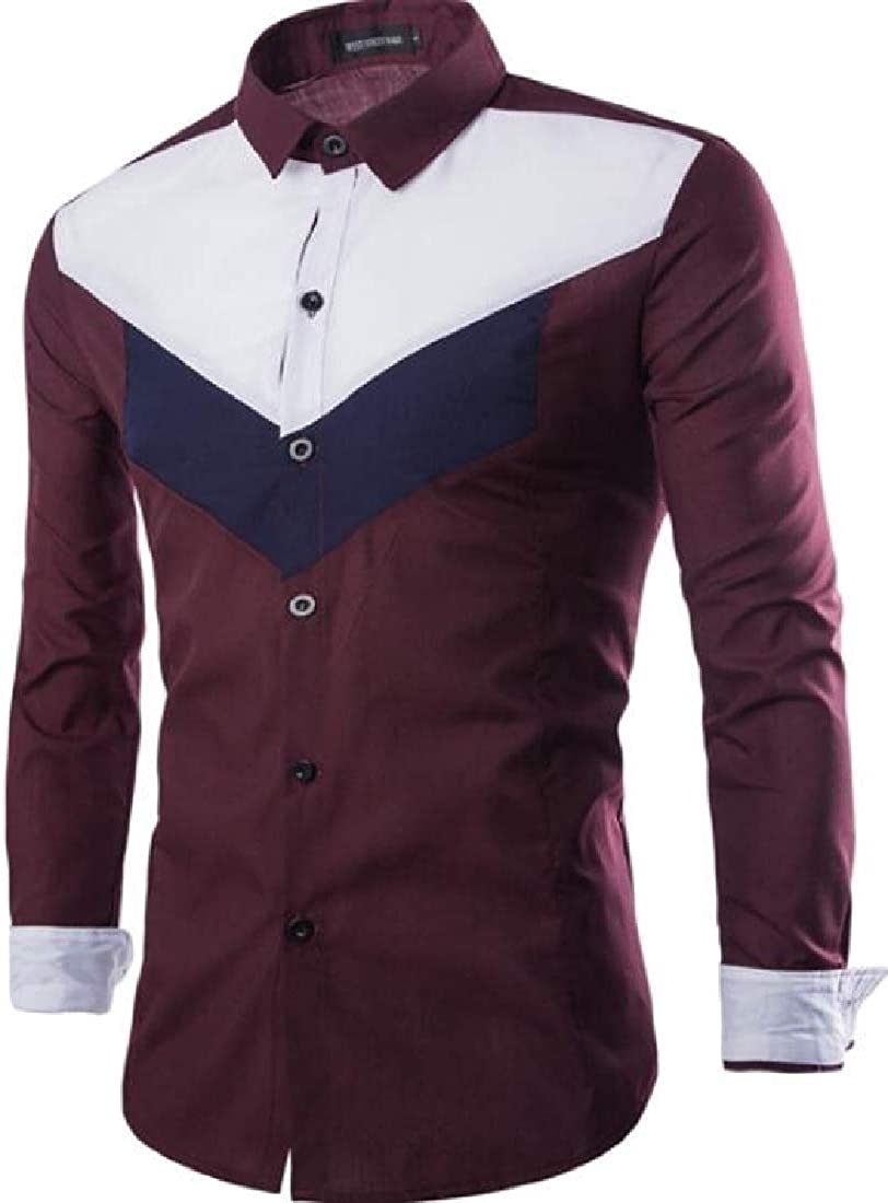 hower Mens Classic Fit Color Block Straight Fit Long Sleeve Casual Shirts
