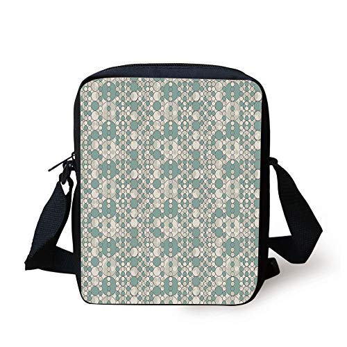 Retro,Abstract Circles Linked Round Geometric Forms in Soft Faded Tones Artwork,Almond Green White Print Kids Crossbody Messenger Bag Purse