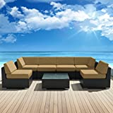 Genuine Luxxella Outdoor Patio Wicker Sofa Sectional Furniture BELLA 7pc Gorgeous Couch Set DARK BEIGE Review