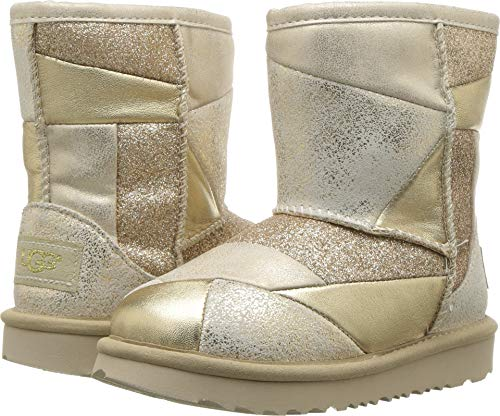 UGG Baby Girls' T Classic Short II Patchwork Fashion Boot, Gold, 9 M US Toddler (Short Classic Ii)