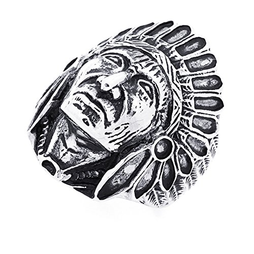 Double Accent 30MM Stainless Steel Indian Chief Head Ring for Men (Size 8 to 17) Size 8