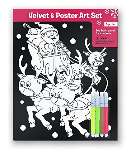 2 Christmas Velvet Art Coloring Posters with 4 Markers. Kids Craft Supplies, Santa & Snowman Velvet & Poster Art Set