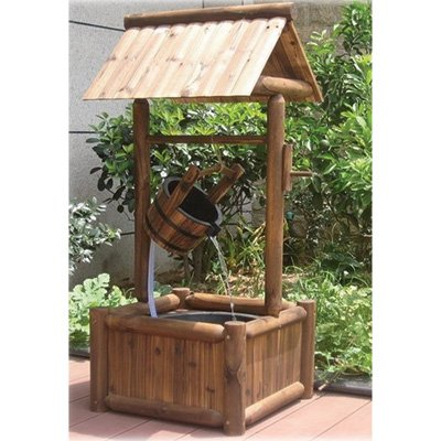 Exceptionnel Wooden Garden Wishing Well Fountain