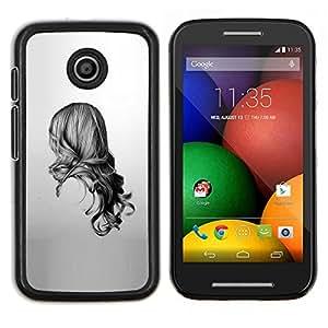Chica Negro Blanco Dibujo minimalista- Metal de aluminio y de plástico duro Caja del teléfono - Negro - Motorola Moto E / XT1021 / XT1022