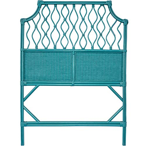 (Boho Style Teal Blue Wicker Twin Size Headboard. Shabby Chic Rattan Single Headboard Perfect for XL Dorm Beds, Guest Rooms, Kids Rooms and Vacation Beach Houses. Stand Alone or Wall)
