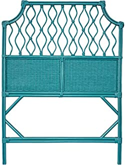 related image of Boho Style Teal Blue Wicker Twin Size
