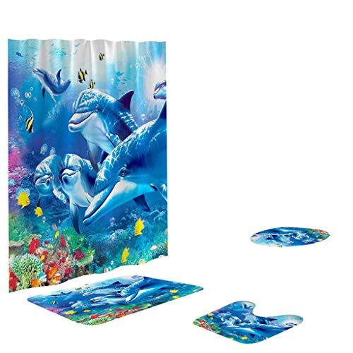 Fiaya 3Pcs /4PCS Stone Pattern Ocean Tortoise Bathroom Set Rug Contour Mat+Toilet Lid Cover +Plan Solid Color Bath Mats +Shower Curtain (4PCS, Ocean Dolphin EE)