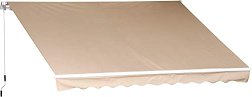Outsunny 12' x 10' Manual Retractable Awning Outdoor Sunshade Shelter