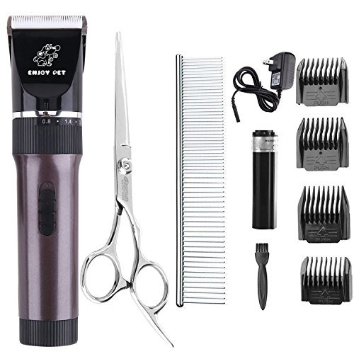 ENJOY PET Dog Clippers Cat Shaver, Professional Hair Grooming Clippers Detachable Blades Cordless Rechargeable, Pet Clipper Kit with Scissor, Combs, Guards for Dog Cat, Quiet Animal Clippers (Brown) by ENJOY PET (Image #7)