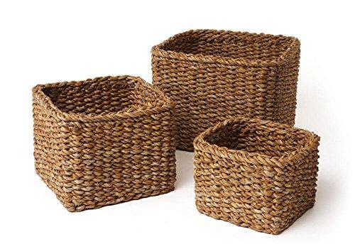Napa Home & Garden Seagrass Small Square Baskets, Set of 3