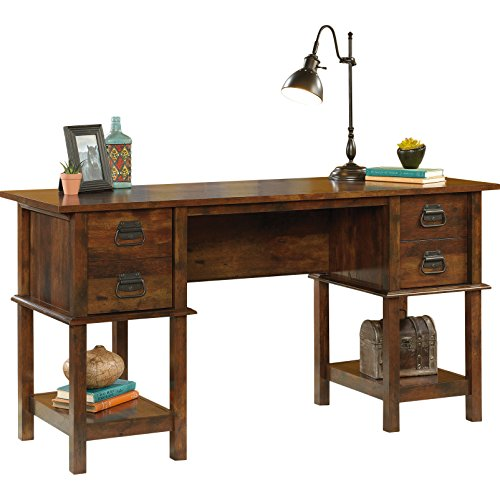 Antonio Writing Desk with 2 Drawers and 2 Lower Shelves Made w/ Wood in Curado Cherry Finish 30.39'' H x 59.55'' W x 19.49'' D in. by Bungalow RoseTM