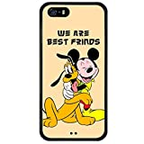 iPhone SE Case Onelee Disney Cartoon Movie Micky Mouse & Pluto Dog Tire tread pattern TPU Rubber Black iPhone 5s Case Neverfade Scratchproof Case