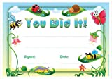 30 x You Did It! Award Certificates for Kids - Bee, Butterfly & Other Cute Insect Design