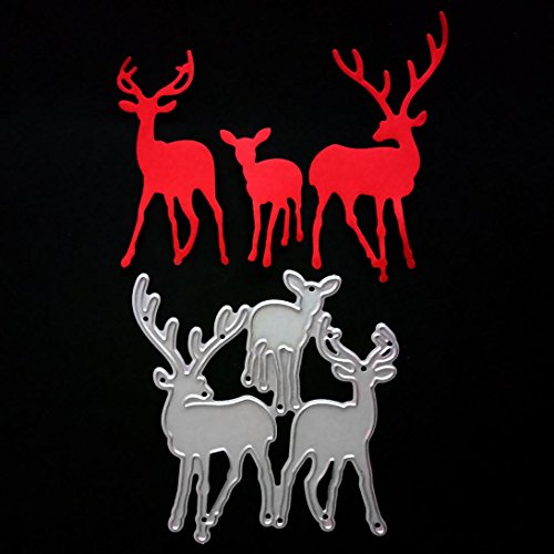 Christmas Metal Cutting Dies Deer for Card Making, Staron Cut Die Metal Stencil Template Mould for DIY Scrapbook Embossing Album Paper Card Craft (F) by Staron (Image #1)