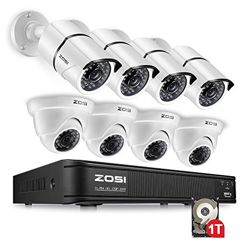 ZOSI 8 Channel 720p HD-TVI Security Camera System 1080N DVR Reorder with 1TB Hard Drive and (8) HD 1280TVL Outdoor/Indoor Weatherproof Surveillance CCTV Cameras with Motion Detection by ZOSI