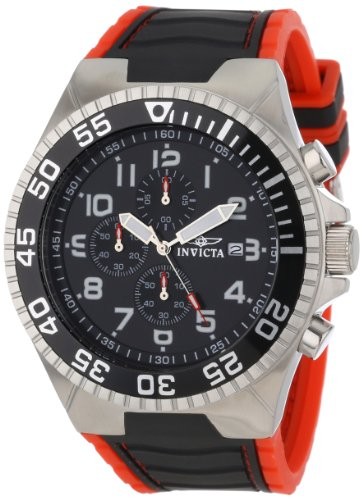 Invicta Men's 12412 Pro Diver Chronograph Black Dial Black and Red Polyurethane (Red Polyurethane Watch)
