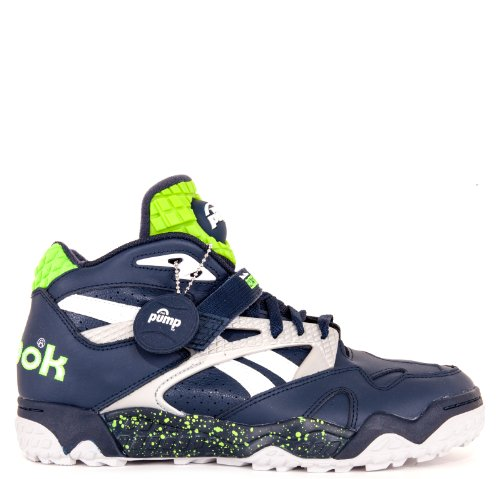 Reebok Running Pumps (Reebok Pump Paydirt Mid Seahawks Navy Silver Green White 12)