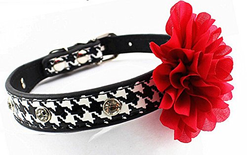 (Dogs Kingdom Houndstooth Pet Collars Rose Flower Rhinestone Crystal Studded Pu Leather Dog Collar Black M)