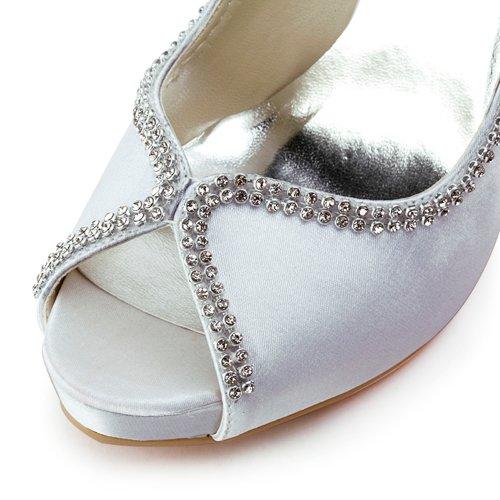 Chaussures IP Bal ElegantPark Blanc Diamant Chaine de Aiguille Satin Ouvert Plateforme Bout Escarpins Femme mariee EP11083 5qw46qP