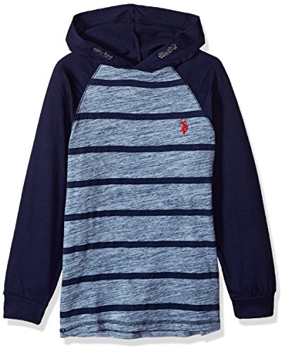 U.S. Polo Assn. Boys' Big Long Sleeve Striped Crew Neck T-Shirt, Hooded Color Block ice Blue, 14/16