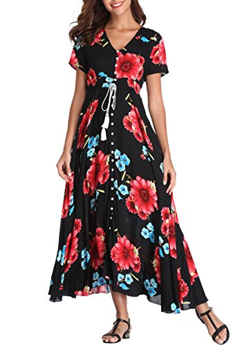 VintageClothing Women's Floral Print Maxi Dresses Boho Button Up Split Beach Party Dress, Black&Red Flower, M ()