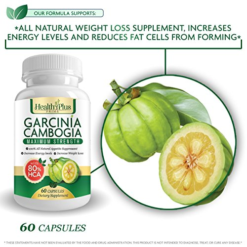 80% HCA PURE GARCINIA CAMBOGIA PREMIUM EXTRACT All Natural Appetite Suppressant and WEIGHT LOSS Supplement Formula. Ultra Easy Swallow Pills. 60 Capsules. Manufactured In The USA Plus Clean Eating E-Book!