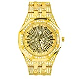 Men's Hip Hop Heavy Iced Out Fashion 14K Gold Plated Metal Band Watches WM 8573 G