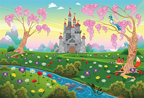 LFEEY 9x6ft Cartoon Spring Natural Scenery Backdrop Beautiful Riverside Wildflowers Castle Background for Photography Kids Birthday Party Event Decor Wallpaper ()