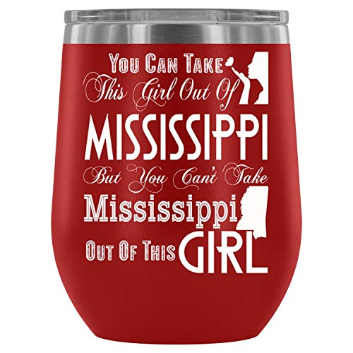 I Love Mississippi Steel Stemless Wine Glass Tumbler, 12 oz, Mississippi Girl Wine Tumbler Cup, Tumbler Cup with Lid for Wine, Coffee, Drinks (12oz - ()