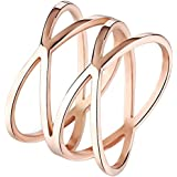 """BOHG Jewelry Womens 14MM Rose Gold Plated Double """"X"""" Criss Cross Long Hollow Ring Wedding Lady Gril Band"""