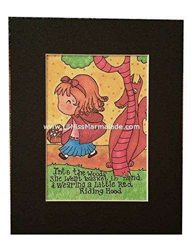 Little Red Riding Hood Nursery Art Print with Black Mat Frame (Little Miss Riding Hood)
