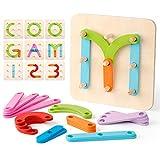 Coogam Wooden Letter Number Sorter Puzzle Educational Stacking Blocks Toy Set Shape Color Construction Pegboard Sorter Activity Board Sort Game for Kids Toddler Gift Preschool Learning STEM Toy