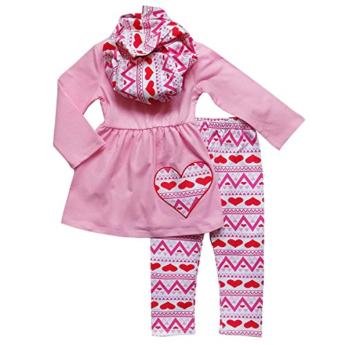 So Sydney Toddler Girls 3 Pc Valentine's Day Heart Print Holiday Outfit & Scarf (XL (6), Pink)