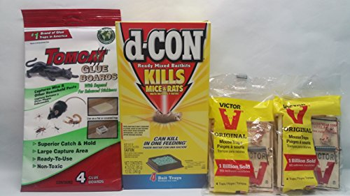 D-Con Ready Mix Rat and Mouse Killer - (Box of 4 Bait Trays), Tomcat Glue Boards (Captures Mice and Other Household Pests, Eugenol Formula, 4-Pack), Victor M154 Metal Pedal Mouse Trap, (Pack of 4), 3 Of The Best Rodent Eliminators All In One Pack