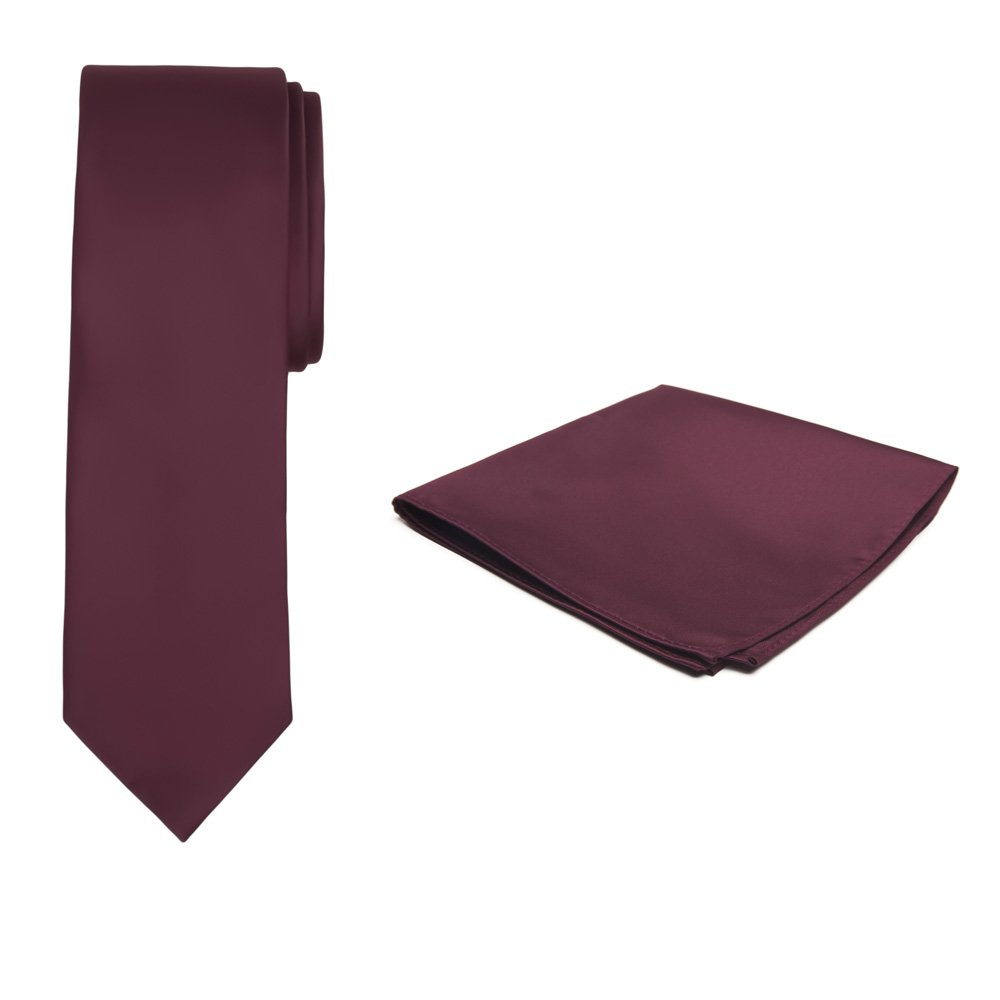 Jacob Alexander Solid Color Boy's Regular Tie and Hanky Set - Burgundy Wine