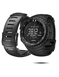 Suunto Core Wrist-Top Computer Watch with Spare Replacement Band Bundle (Black with Black/Black Band)