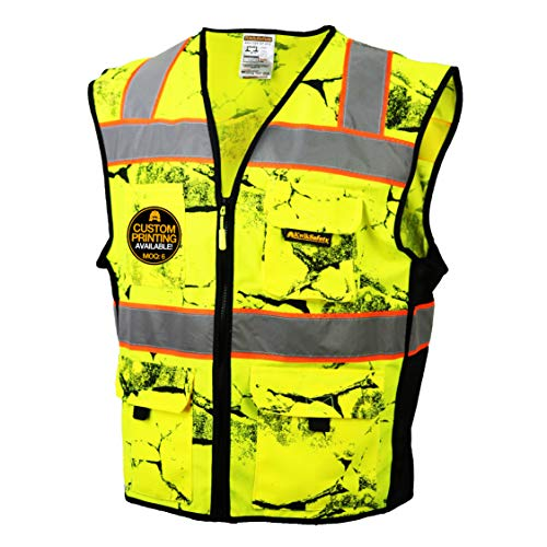 KwikSafety (Charlotte, NC) UNCLE WILLY'S WALL (10 Pockets) Class 2 ANSI High Visibility Reflective Safety Vest Heavy Duty Mesh with Zipper and HiVis for Construction Work HiViz Men Yellow Black L/XL by KwikSafety (Image #7)