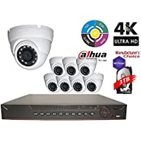 Dahua Penta-brid 1080P Security Package: 16CH 1080P Penta-brid XVR5216 5 in 1 (CVI TVI AHD IP and Analog) w/3TB Security Hard Drive+(8) 2MP Outdoor IR HDW1200 3.6MM Eyeball (NO LOGO OEM Local Support)