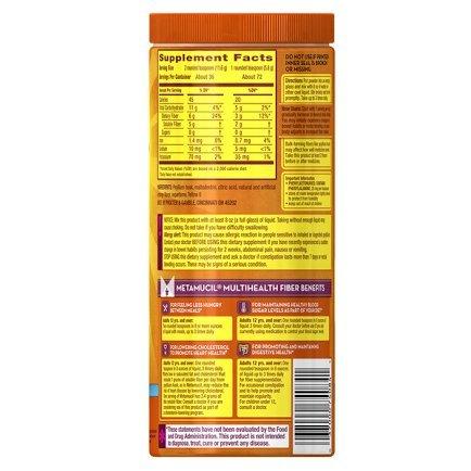 Sugar Free Natural Fiber Supplements (Metamucil Daily Fiber Supplement, 100% Natural Psyllium Husk, Orange Smooth Sugar Free Fiber Powder, 72 Doses)