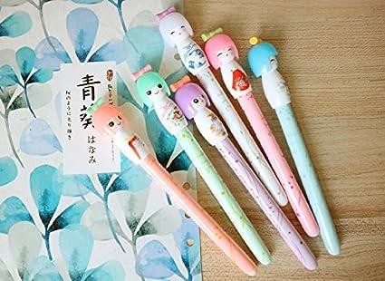 QILENE Mu/ñeca Peque/ña Transparente Gel Coloreado Lindo Pensador para Escritura Cartoon Negro Roll Pen