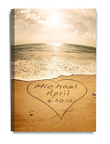 (DECORARTS - Sand Writing Personalized Art Canvas Prints Gift, Includes Names and The Special Date for The Wedding Anniversary.)