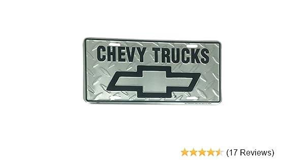Chevy Trucks Diamond Embossed background metal auto tag 6 x 12
