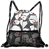 Puffin Drawing Drawstring Backpack Traveling Swim Shoulder Bags Large Capacity Beam Backpack, Home Travel Storage Use Gift For Men & Women, Girls Boys