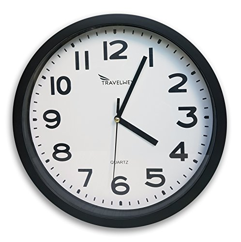 Travelwey Home Wall Clock - Glass Front, Battery Operated, No Bells, No Whistles, Simply Hang and Go, Silent and Non Ticking, Big Bold Digits, Black (Black)