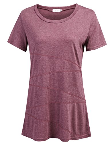 Ladies Exercise Tops, Womens Running Dressy Chic Fast Dry Shirts Essential Scoop Neck Stylish Breathable Blouses Short-Sleeved Seamless Stitching Knitted Slim Fit Clothes (Red, US L(12-14)) (Best Clothes To Wear For Yoga)