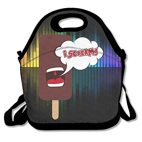 [Hoeless I Scream Insulated Lunch Bag With Zipper,Carry Handle And Shoulder Strap For Adults Or Kids Black] (Sadness Costume Ideas)